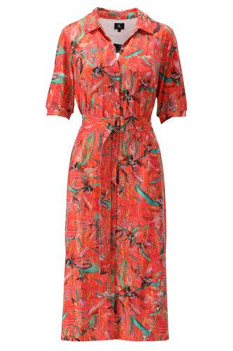 K-Design Koraal polo jurk met riem