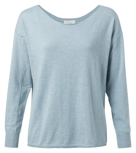 Yaya Cotton blend boat neck sweater misty blue