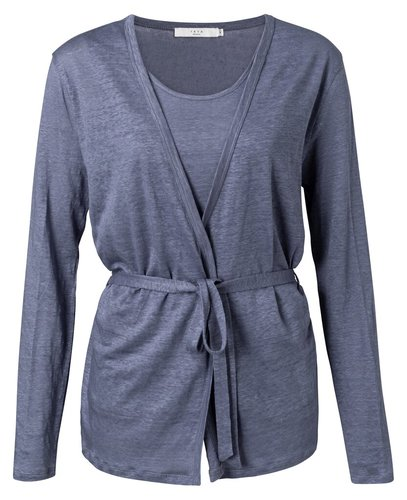 Yaya Linen wrapped cardigan with singlet washed indigo blue