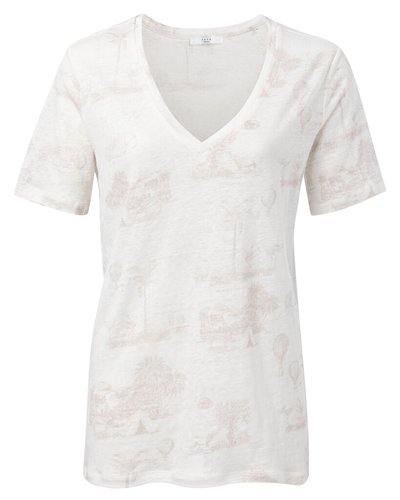 Yaya Linen V-neck T-shirt with story print