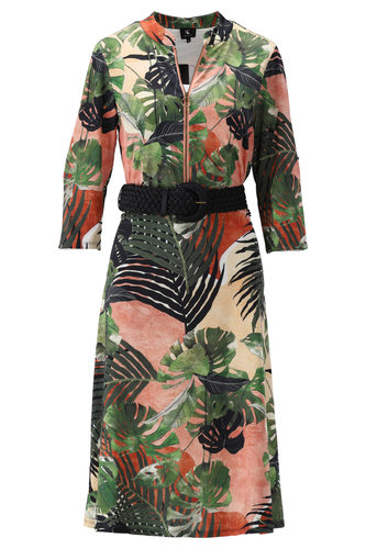 K-Design Midi jurk met palmprint en riem