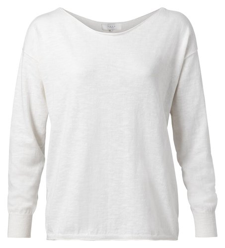 Yaya Cotton blend boat neck sweater blanc