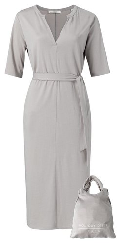 Yaya Jersey belted dress with pockets Silver