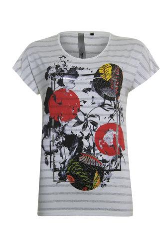 Poools T-shirt met rode print 023106-S320