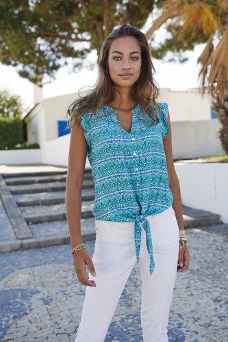 Esqualo Blouse knot blue lagoon