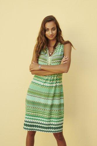 Esqualo Dress slv/lss green garden print