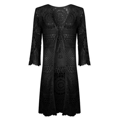 Esqualo Cardigan crochet zwart