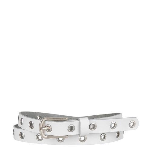 DSTRCT Zilveren Wit Lederen riem met gaatjes  structuur in het zilver
