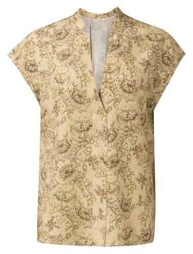 Yaya Printed v-neck top in linen blend