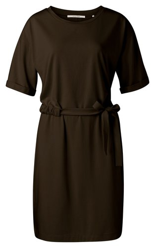 Yaya Jersey dress with wrinkled waist cord and rolled-up sleeves