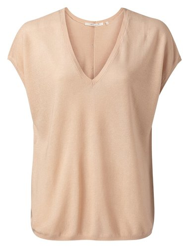 Yaya V neck silk blend sweater with buttons on the back