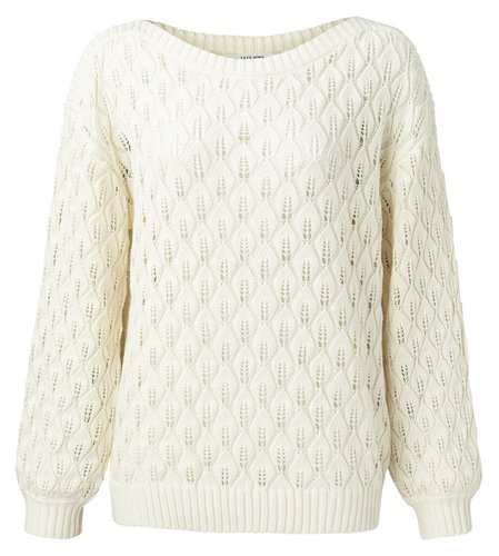 Yaya Pointelle knitted sweater boatneck line with long sleeves