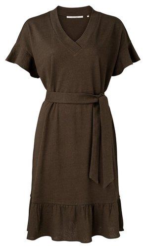 Yaya Linen blend dress with ruffle and strap belt