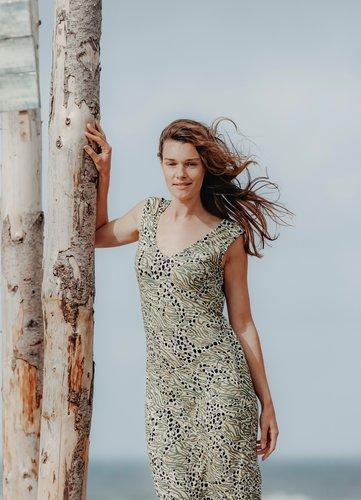 Poools Gele print jurk 023121-S33