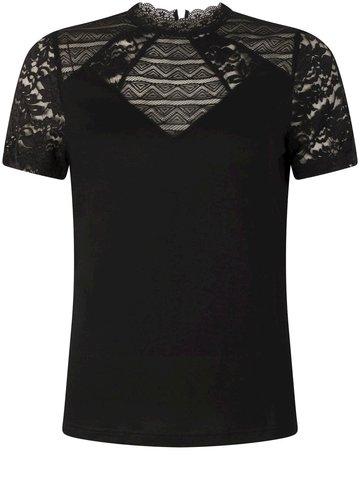 Tramontana Top S/S Lace Mix Black