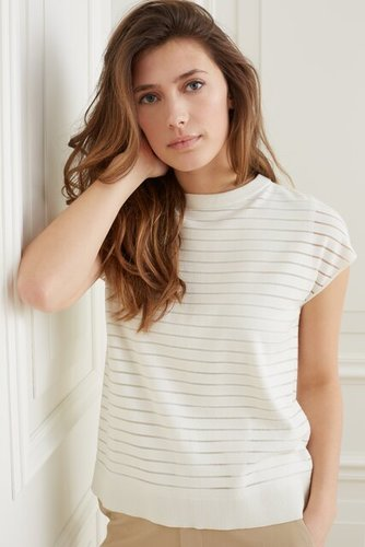 Yaya Double layer sweater with transparent stripes top layer