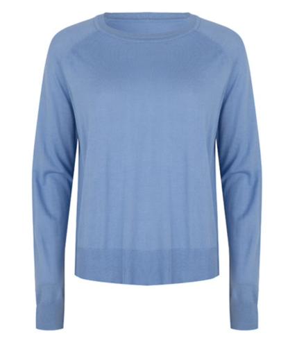Esqualo Sweater basic R/N buttoned slve cuff Azure Blue