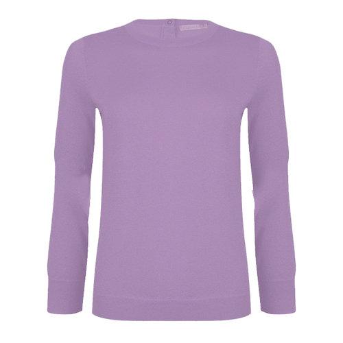 Esqualo Sweater lurex basic slv buttons Lilac