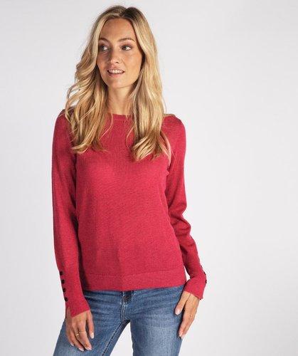 Esqualo Sweater lurex basic slv buttons framboise