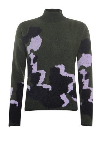 Poools  Sweater Big Spots Dark Olive