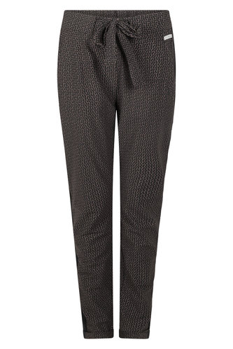 Zoso Isabel Taupe Printed travel pant with piping