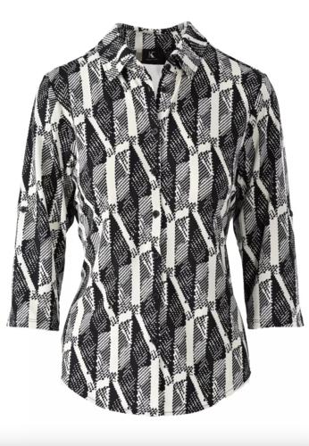 K-Design Blouse met zwart wit motief T802