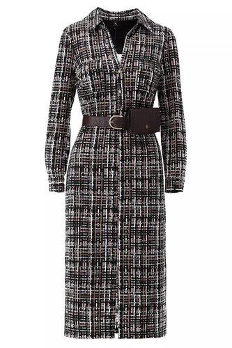 K-Design Midi jurk met print, split & riem met zakje T820