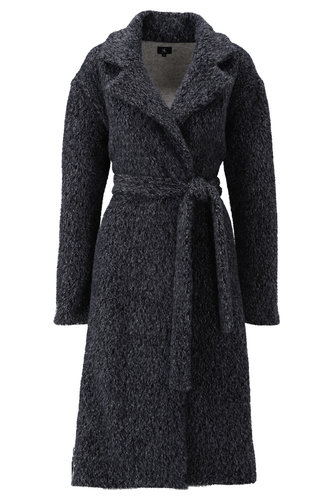K-Design Jas met wol mix look dark grey T302