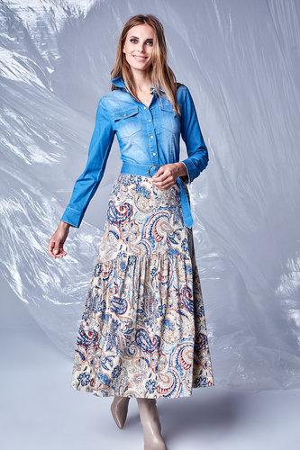 K-Design Jurk met jeans top en print rok T116