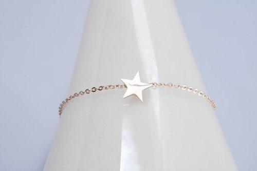 ZAG ster met 2 bolletjes rosegoud armband