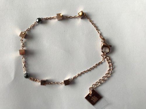 ZAG armband blokjes/vierkantjes rosé goud kleurig