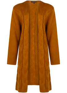 Tramontana Cardigan Long Cable Knot Toffee
