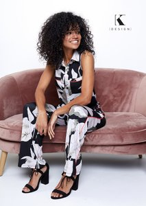 K-Design Jumpsuit mouwloos met zakjes & print Q858