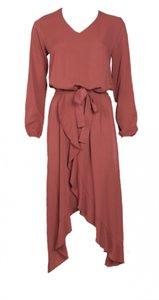 20to Dress Ruffles Mattone Kleur: Mattone Materiaal: