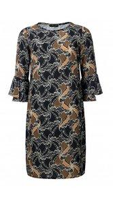 Dayz Ody - Geprinte jurk met trompet mouwen